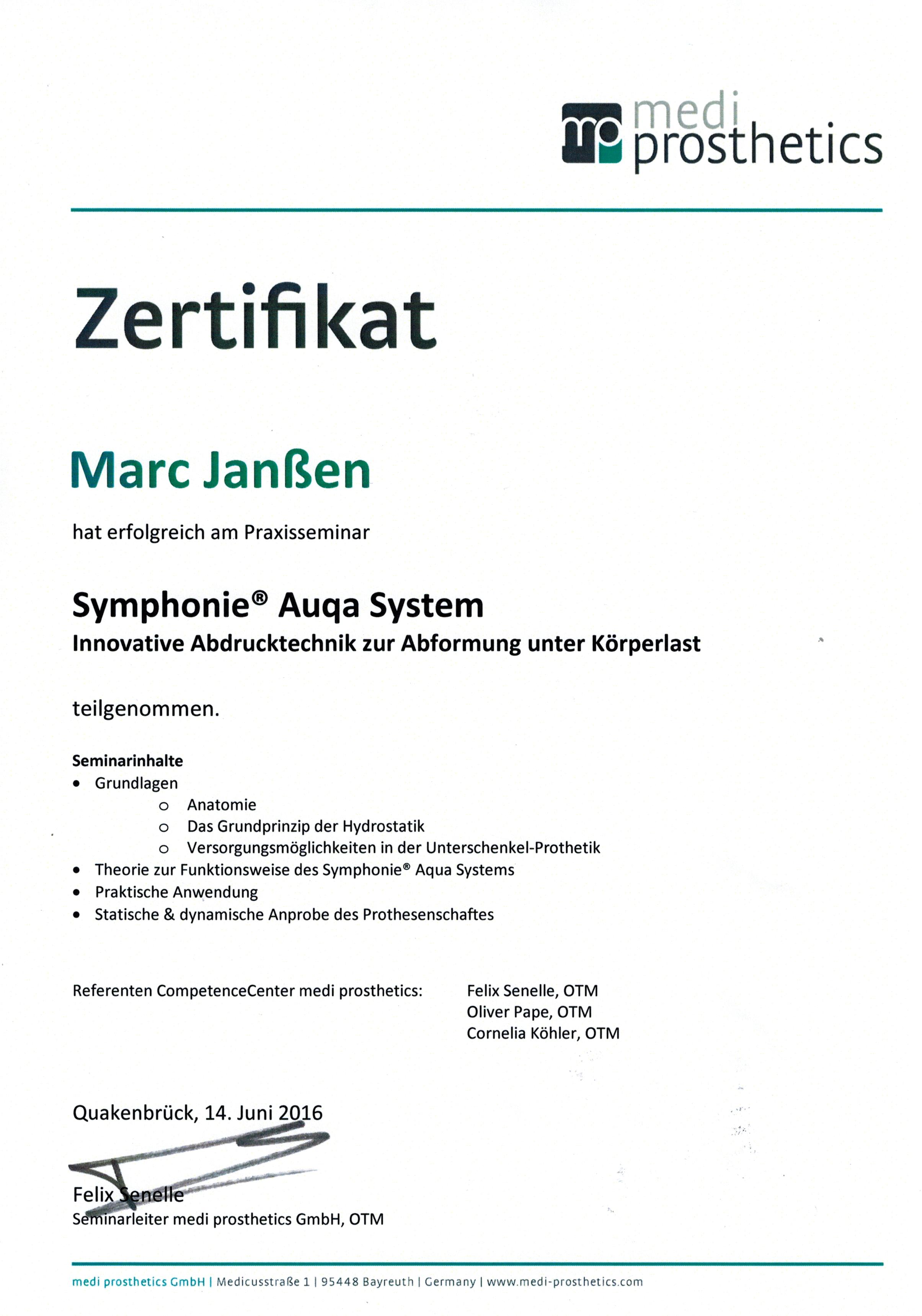 Synphonie Auqua System Marc Zertifikat02092016